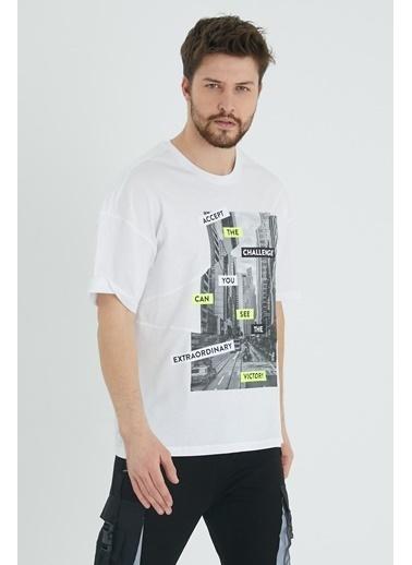 XHAN Mint Parçalı Baskılı Salaş T-Shirt 1Kxe1-44647-58 Beyaz